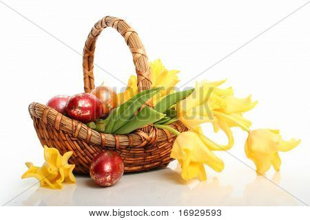 colored easter eggs and yellow tulips in bascet