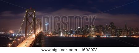 Bay Bridge And San Francisco At Night Panorama