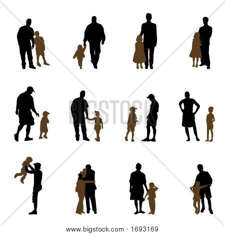 Padre y siluetas de los niños