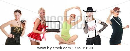 group of women: retro photographer, sexy doll, mrs. Santa, sporty girl, cowgirl and cute teacher
