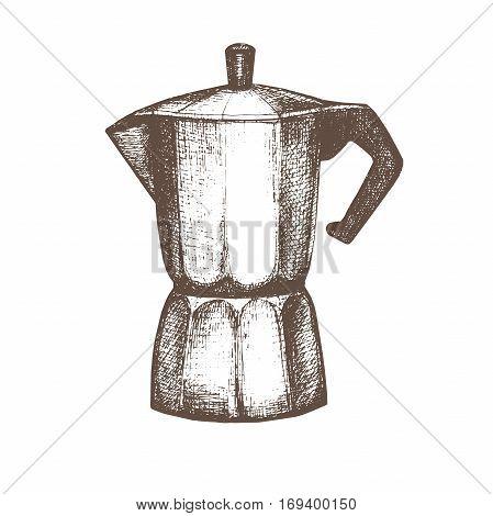Vintage Kitchen Utensils Illustration vector illustration with sketch geyser coffee maker. sketch of