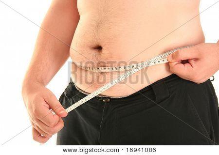 fat guy isolated on white background