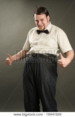 funny eccentric guy on dark background