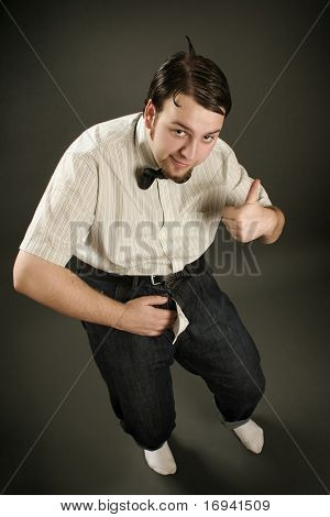 eccentric funny guy on dark background