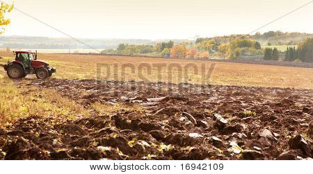 orange autumn field with agrimotor