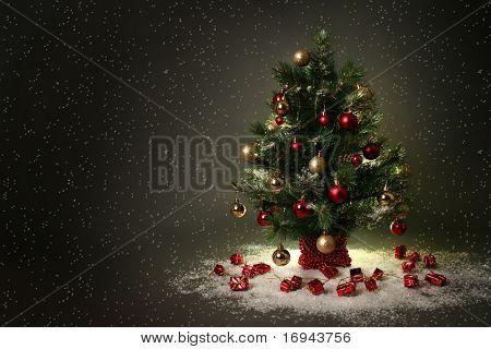 beautiful christmas tree on dark background
