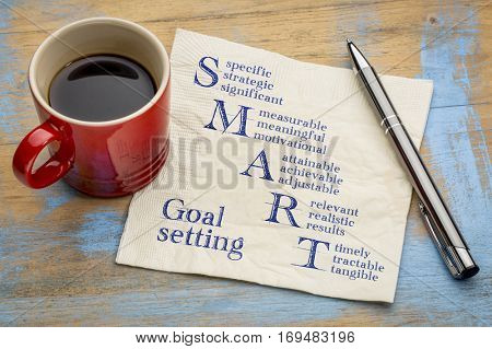 smart goal setting concept - handwriting on a napkin with a cup of espresso coffee