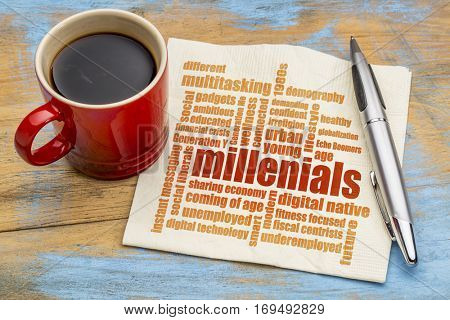 millenials word cloud on a napkin a cup of coffee - demography concept