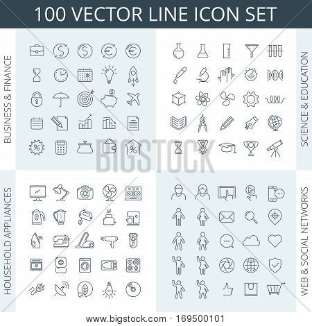 poster of Vector thin line icon set. Business icons education icons financial icons science icons household appliances icons kitchen icons social networks icons school icons. For infographics and web.
