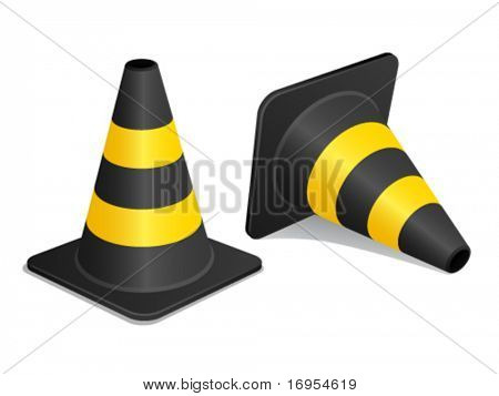 vector traffic cones with shadow