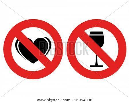vector sem marcas de amor e de álcool permitidas