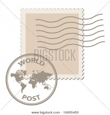 vector blank post stamp with world map postmark