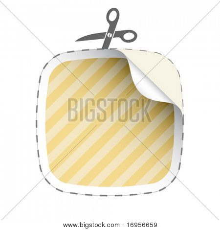 vector scissors cutting striped sticker