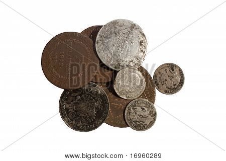 old coins, isolated on white