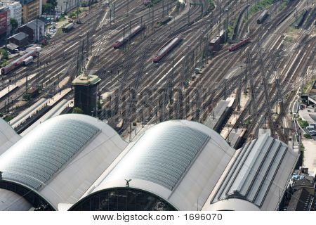 Big Railway Station With Trains