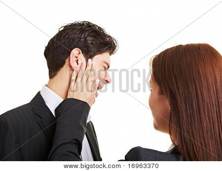Woman Slaping Businessman In The Face