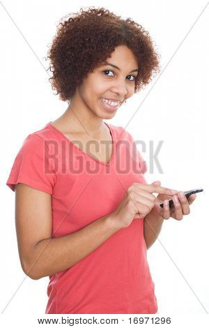 The African girl with phone