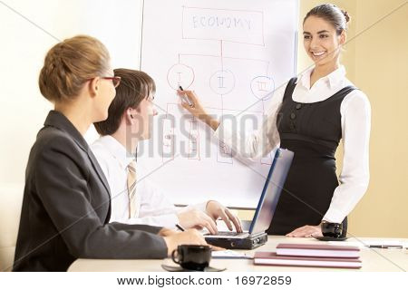 Business people looking at their leader while he explaining something on whiteboard
