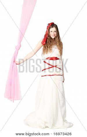 Young Smiling Bride Posing In Studio