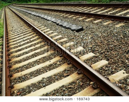 Train Tracks In Diagonal Perspective