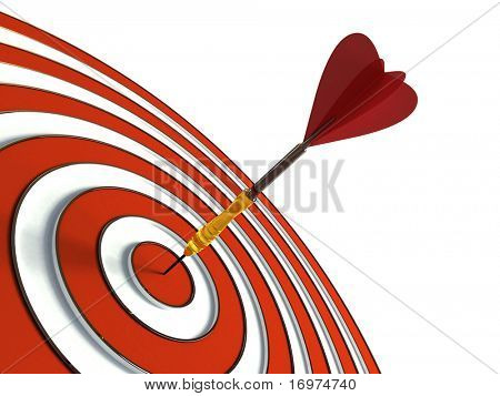 Red target and dart isolated on white