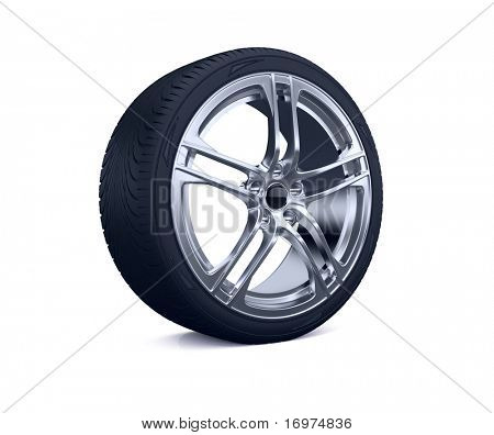 3d render of car tire isolated on white