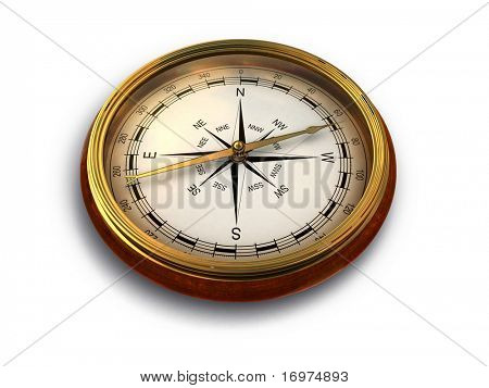 Render of vintage compass isolated on white 2