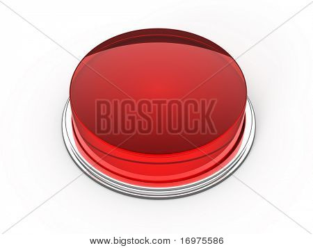 Blank red glass button - 3d render