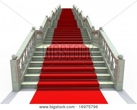 Luxury stairs covered with red carpet - 3d render