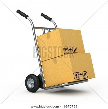 Hand truck with two cardboard boxes isolated on white background