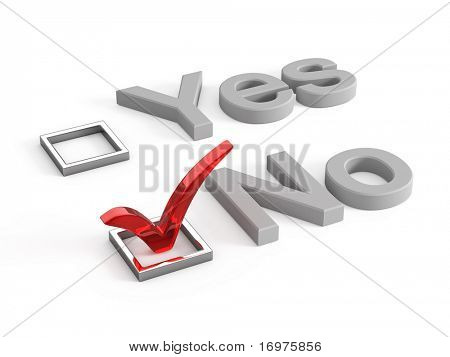 Yes and no check boxes with check mark in the Yes - 3d render