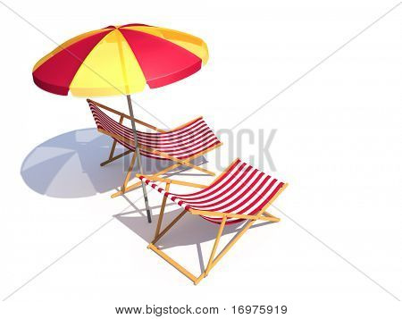 Two chairs and umbrella isolated - 3d render