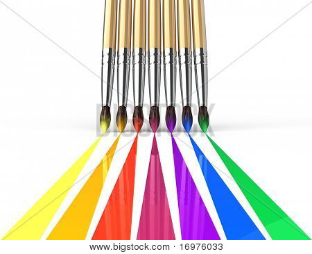 Rainbow brushes painting