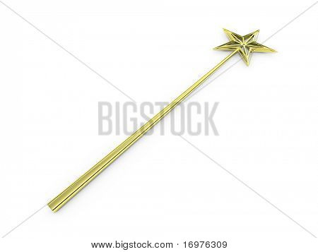 Golden magic wand isolated on white