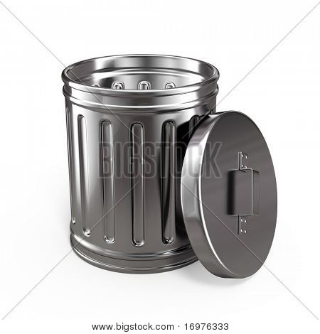 Opened trash can isolated on white