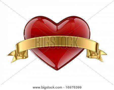 Caramel heart whit golden ribbon