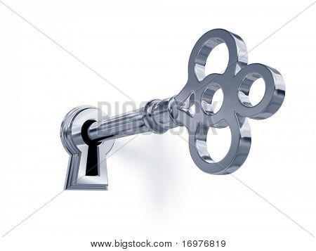 Llave de plata en el ojo de la cerradura