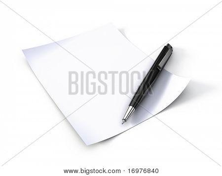 leeres Briefpapier mit Stift