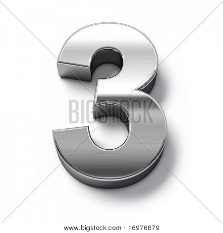 3D Metall Nummern Nr. 3