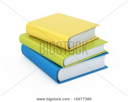Stack os colorful books isolated on white