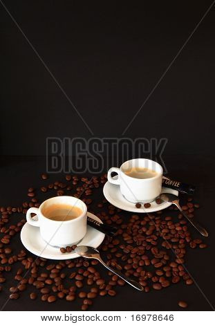 Coffee espresso on black background