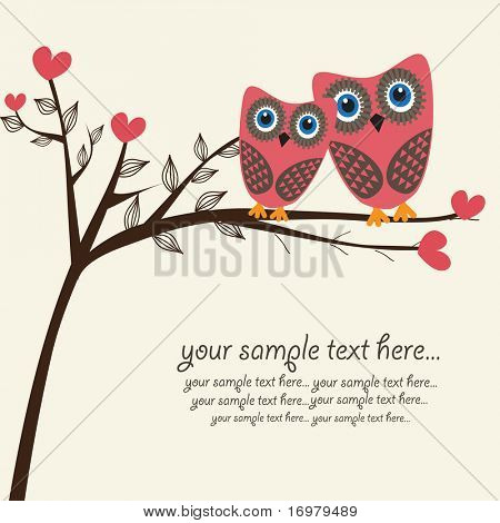 Owls couple in love. Vector.