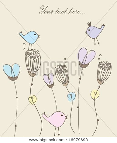 Greeting card with birds on flowers. Vector.