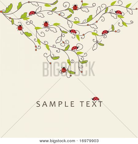 Floral background with ladybirds. Vector.