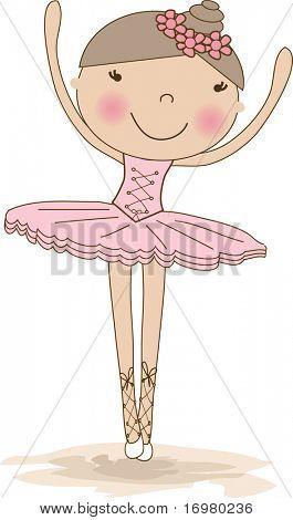 Small ballerina. Vector illustration.