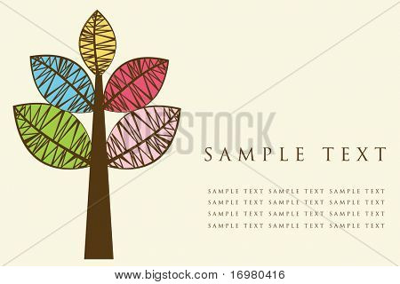 Card with multicolored tree. Vector illustration.