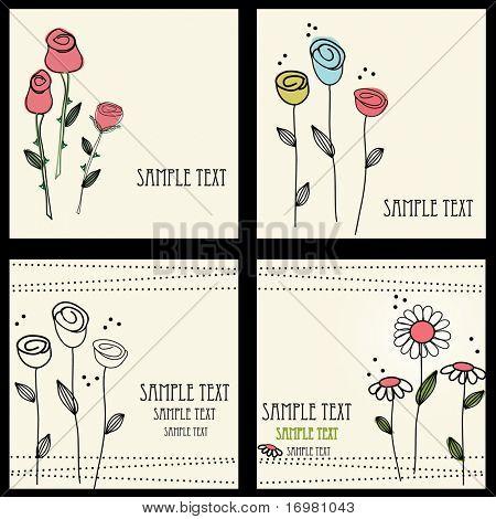 Floral cards set , vector illustration