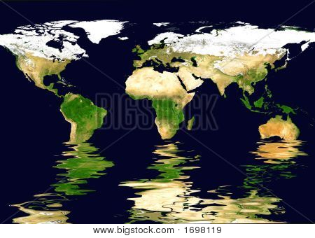 World Map And Water Reflection #1