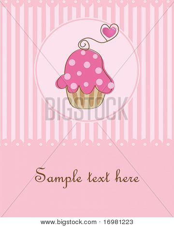 Cupcake card.Vector illustration.