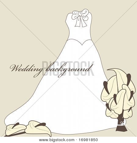 Wedding background with dress and calla lilies.
